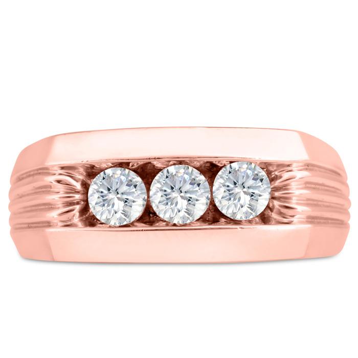 Mens 3/4 Carat Diamond Wedding Band in 14K Rose Gold, G-H, I2-I3, 9.03mm Wide by SuperJeweler