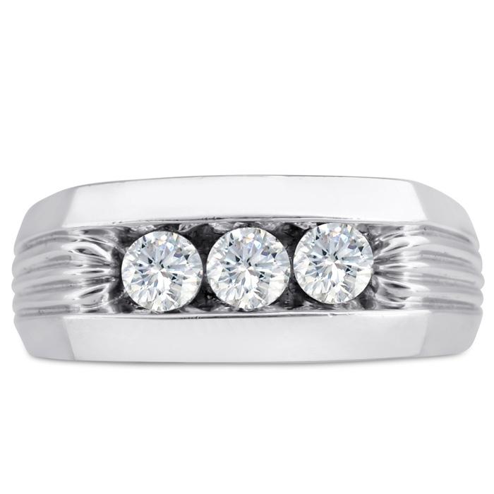Mens 3/4 Carat Diamond Wedding Band in 14K White Gold, I-J-K, I1-I2, 9.03mm Wide by SuperJeweler
