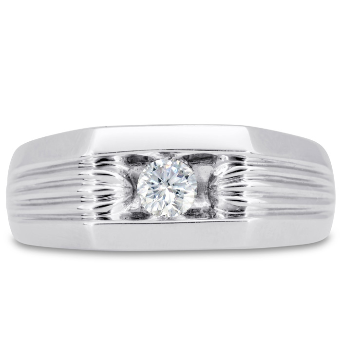 Mens 1/4 Carat Diamond Wedding Band in 14K White Gold, G-H, I2-I3, 8.50mm Wide by SuperJeweler