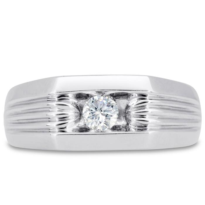 Mens 1/4 Carat Diamond Wedding Band in 14K White Gold, I-J-K, I1-I2, 8.50mm Wide by SuperJeweler