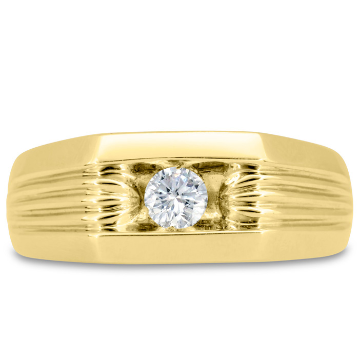 Mens 1/4 Carat Diamond Wedding Band in 14K Yellow Gold, I-J-K, I1-I2, 8.50mm Wide by SuperJeweler