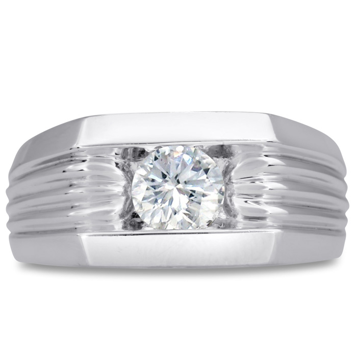 Mens 3/4 Carat Diamond Wedding Band in 10K White Gold, I-J-K, I1-I2, 10.28mm Wide by SuperJeweler