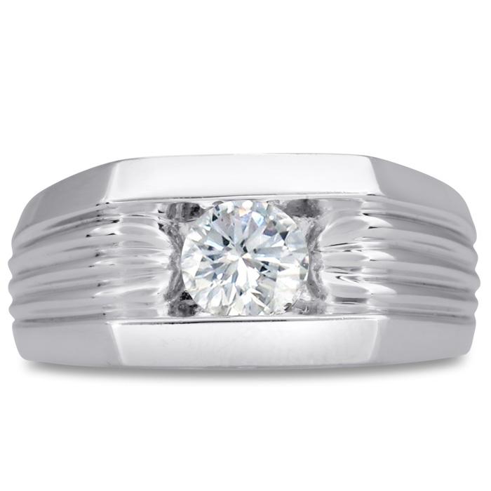 Mens 3/4 Carat Diamond Wedding Band in 14K White Gold, I-J-K, I1-I2, 10.28mm Wide by SuperJeweler