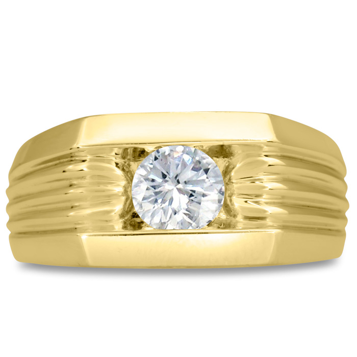 Mens 3/4 Carat Diamond Wedding Band in 14K Yellow Gold, I-J-K, I1-I2, 10.28mm Wide by SuperJeweler