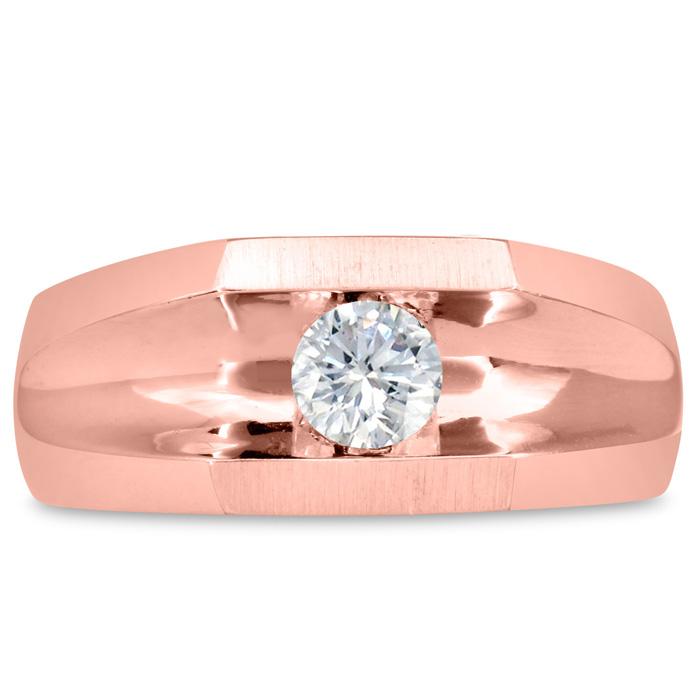 Mens 1/2 Carat Diamond Wedding Band in 10K Rose Gold, G-H, I2-I3, 9.44mm Wide by SuperJeweler