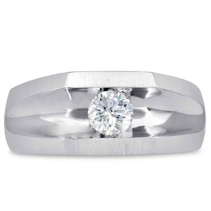 Mens 1/2 Carat Diamond Wedding Band in 10K White Gold, I-J-K, I1-I2, 9.44mm Wide by SuperJeweler