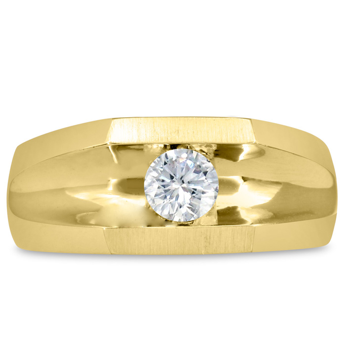 Mens 1/2 Carat Diamond Wedding Band in 10K Yellow Gold, I-J-K, I1-I2, 9.44mm Wide by SuperJeweler