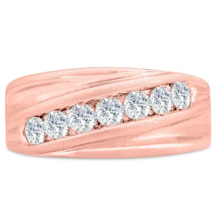 Mens 1 Carat Diamond Wedding Band in 10K Rose Gold, G-H, I2-I3, 1