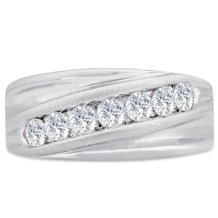 Mens 1 Carat Diamond Wedding Band in 10K White Gold, I-J-K, I1-I2