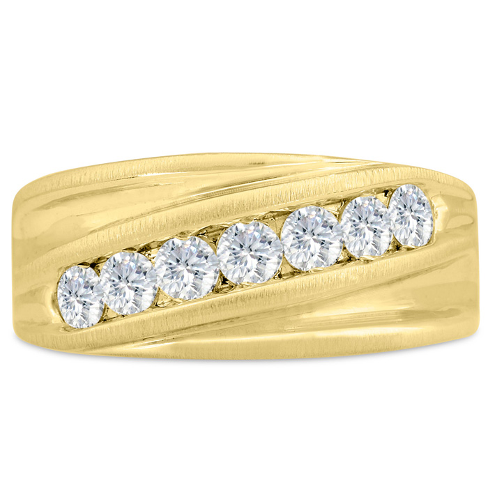 Mens 1 Carat Diamond Wedding Band in 14K Yellow Gold, I-J-K, I1-I2, 10.21mm Wide by SuperJeweler