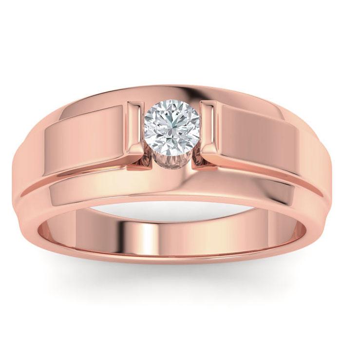 Mens 1/3 Carat Diamond Wedding Band in 10K Rose Gold, G-H, I2-I3, 9.73mm Wide by SuperJeweler