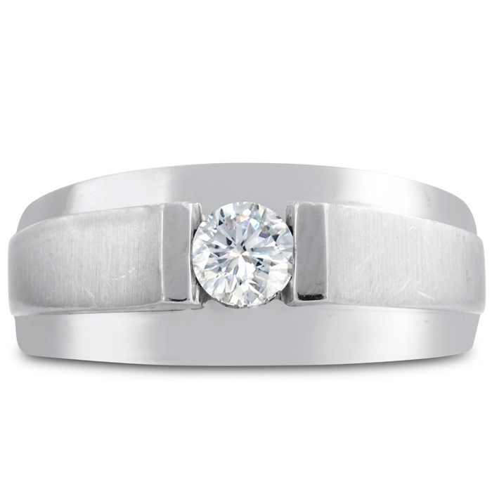 Mens 1/3 Carat Diamond Wedding Band in 10K White Gold, I-J-K, I1-I2, 9.73mm Wide by SuperJeweler