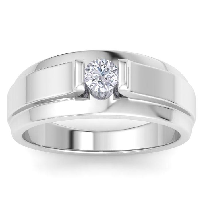 Mens 1/3 Carat Diamond Wedding Band in 14K White Gold, G-H, I2-I3, 9.73mm Wide by SuperJeweler