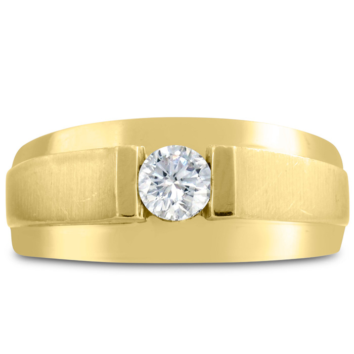 Mens 1/3 Carat Diamond Wedding Band in 14K Yellow Gold, I-J-K, I1-I2, 9.73mm Wide by SuperJeweler