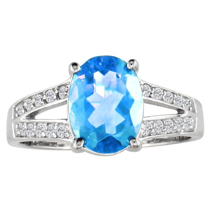 Split Band 1.5 Carat Blue Topaz & .15 Carat Diamond Ring, 14k White Gold (3.3 g), G/H by SuperJeweler