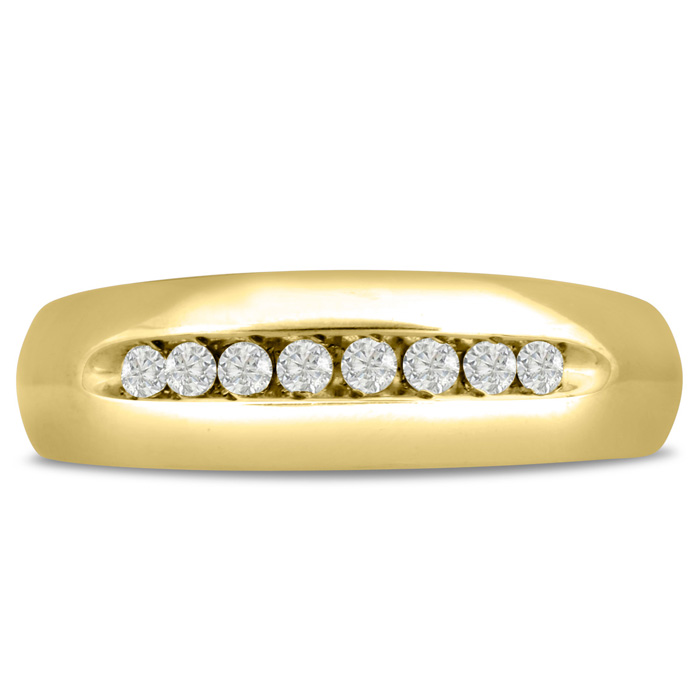 Mens 1/4 Carat Diamond Wedding Band in 10K Yellow Gold, G-H, I2-I3, 7.18mm Wide by SuperJeweler