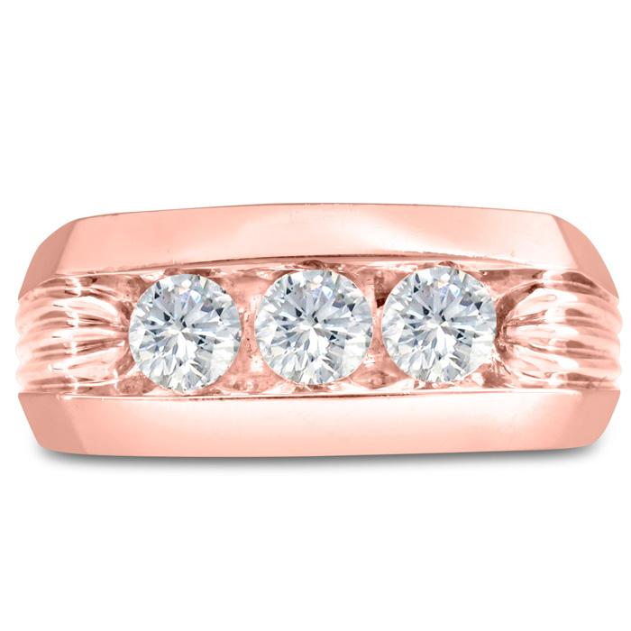 Mens 1 Carat Diamond Wedding Band in 10K Rose Gold, G-H, I2-I3, 9.86mm Wide by SuperJeweler