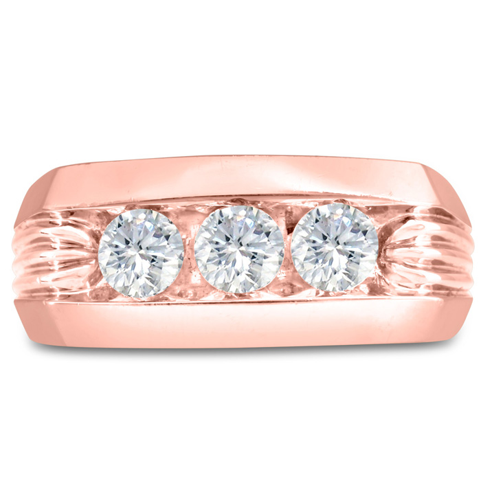 Mens 1 Carat Diamond Wedding Band in 10K Rose Gold, I-J-K, I1-I2, 9.86mm Wide by SuperJeweler