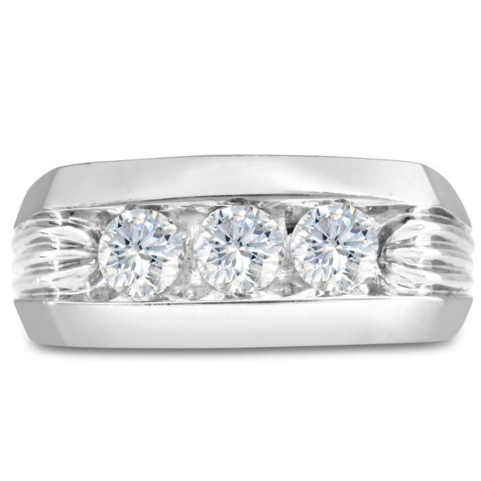 Mens 1 Carat Diamond Wedding Band in 10K White Gold, G-H, I2-I3, 9.86mm Wide by SuperJeweler