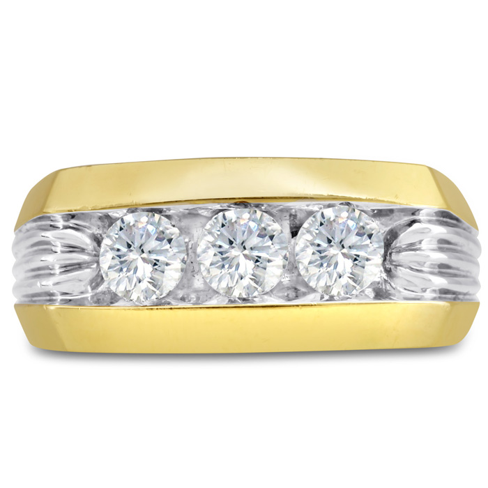 Mens 1 Carat Diamond Wedding Band in 10K Two-Tone Gold, G-H, I2-I3, 9.86mm Wide by SuperJeweler