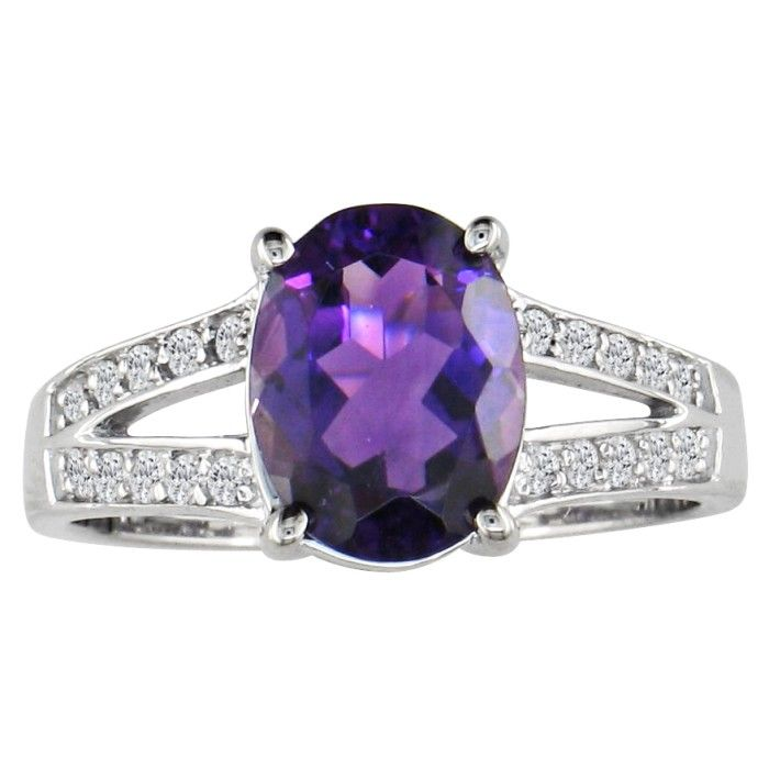 Split Band 1.5 Carat Amethyst & .15 Carat Diamond Ring, 14k White