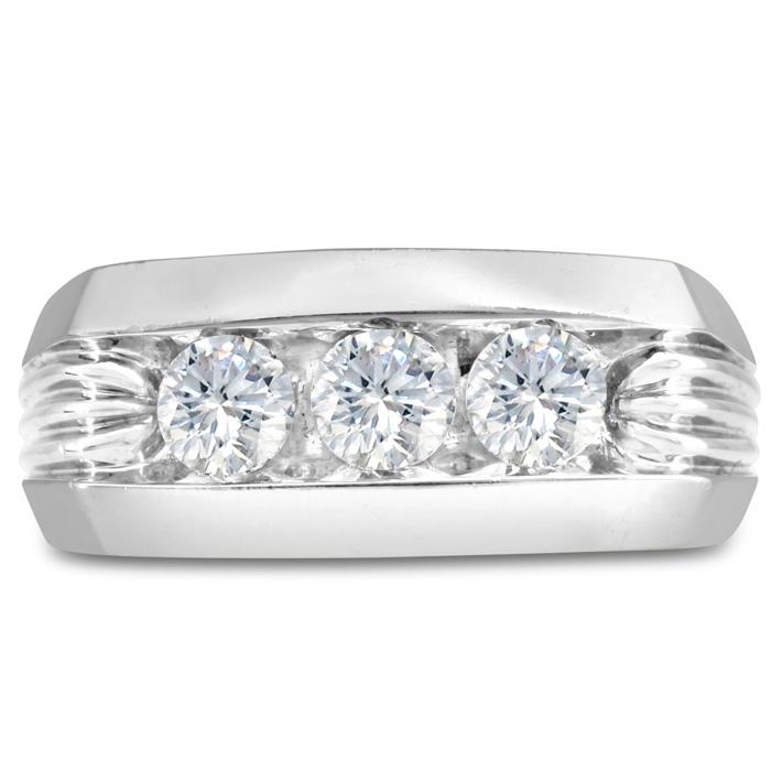 Mens 1 Carat Diamond Wedding Band in 14K White Gold, I-J-K, I1-I2, 9.86mm Wide by SuperJeweler