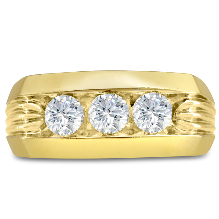 Mens 1 Carat Diamond Wedding Band in 14K Yellow Gold, G-H, I2-I3, 9.86mm Wide by SuperJeweler