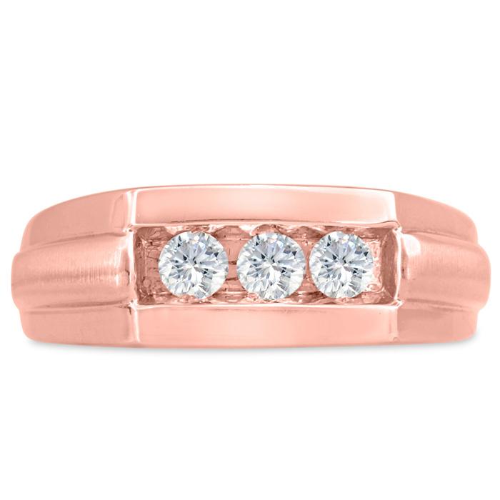 Mens 1/2 Carat Diamond Wedding Band in 10K Rose Gold, I-J-K, I1-I2, 7.82mm Wide by SuperJeweler