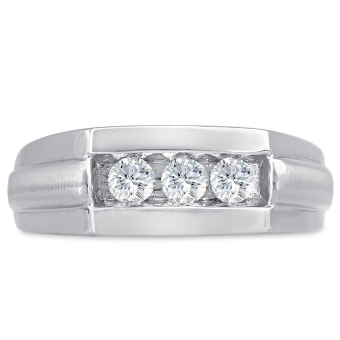 Mens 1/2 Carat Diamond Wedding Band in 10K White Gold, G-H, I2-I3, 7.82mm Wide by SuperJeweler