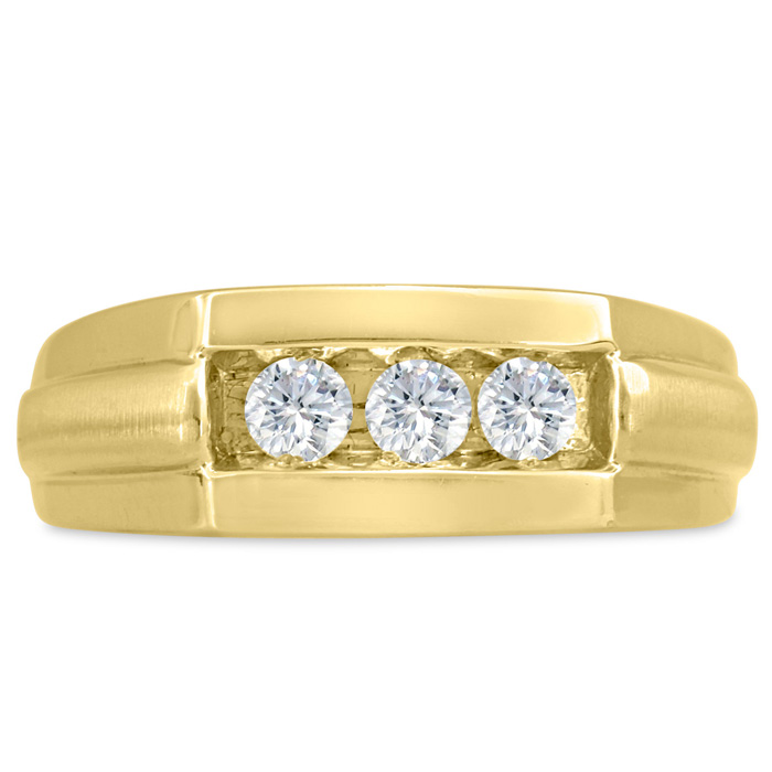 Mens 1/2 Carat Diamond Wedding Band in 10K Yellow Gold, G-H, I2-I3, 7.82mm Wide by SuperJeweler