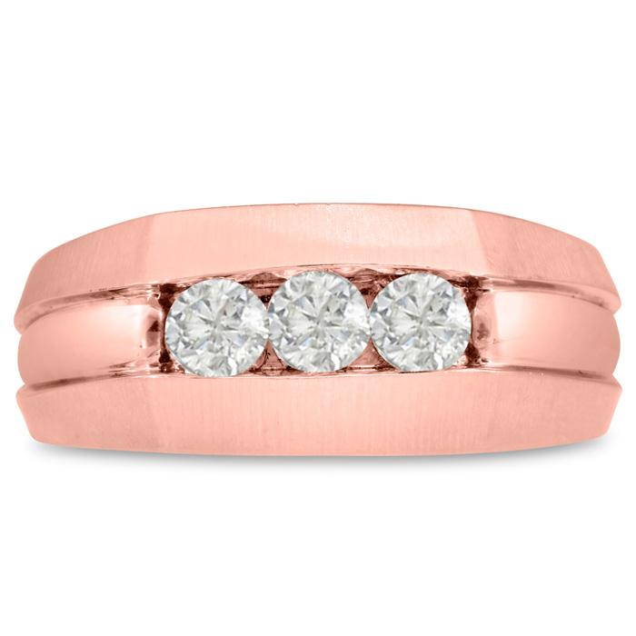 Mens 1/2 Carat Diamond Wedding Band in 10K Rose Gold, G-H, I2-I3,