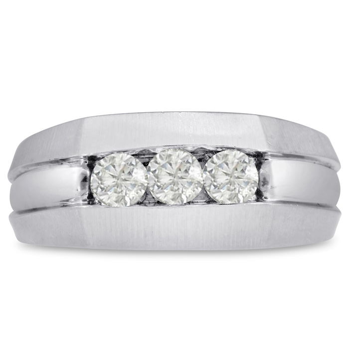 Mens 1/2 Carat Diamond Wedding Band in 14K White Gold, G-H, I2-I3, 9.38mm Wide by SuperJeweler