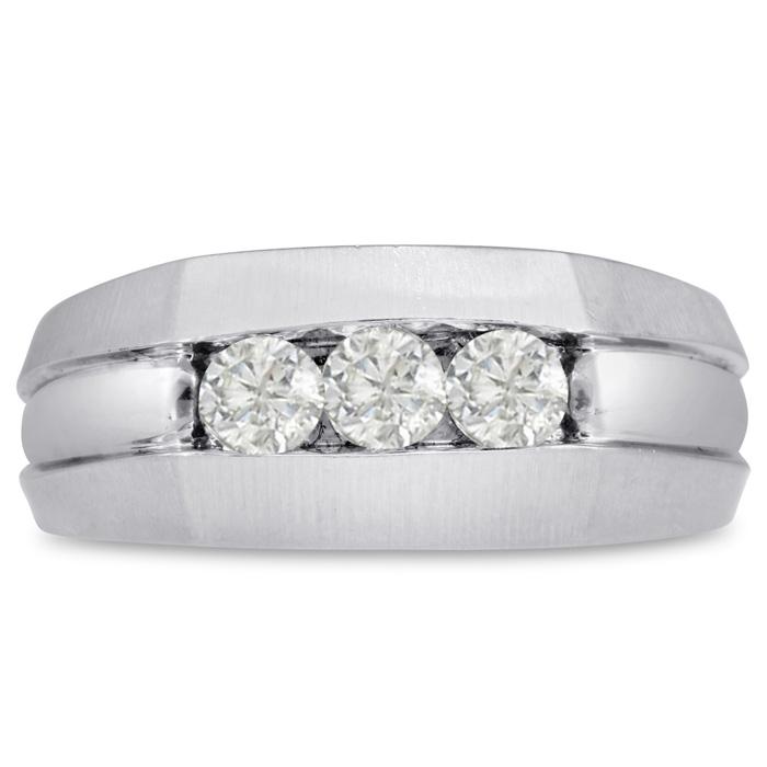 Mens 1/2 Carat Diamond Wedding Band in 14K White Gold, I-J-K, I1-I2, 9.38mm Wide by SuperJeweler