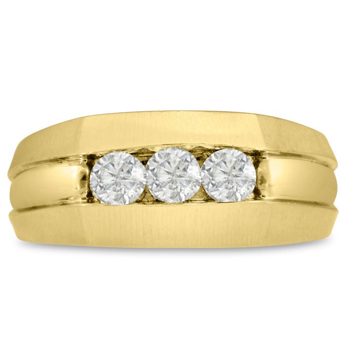 Mens 1/2 Carat Diamond Wedding Band in 14K Yellow Gold, I-J-K, I1-I2, 9.38mm Wide by SuperJeweler