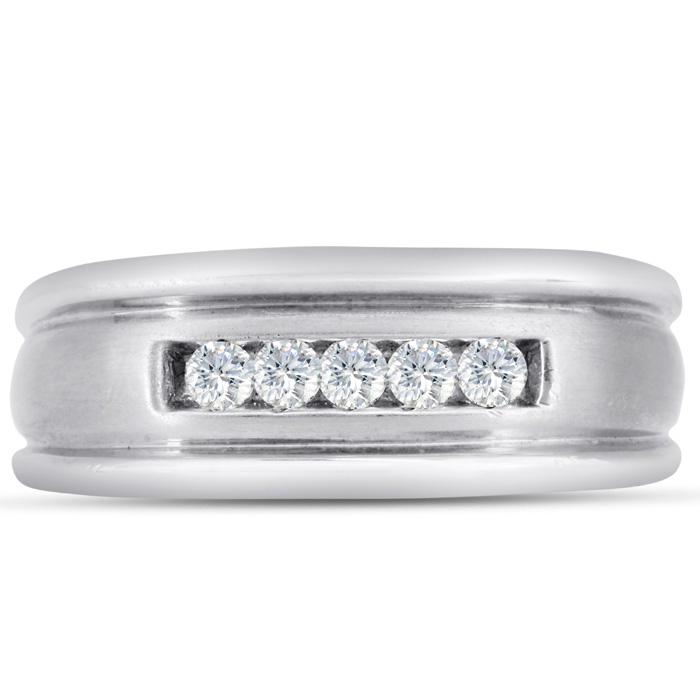 Mens 1/4 Carat Diamond Wedding Band in 10K White Gold, I-J-K, I1-I2, 8.61mm Wide by SuperJeweler