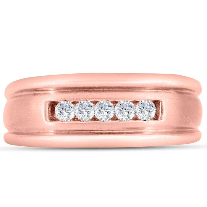 Mens 1/4 Carat Diamond Wedding Band in 14K Rose Gold, G-H, I2-I3, 8.61mm Wide by SuperJeweler