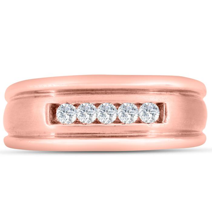 Mens 1/4 Carat Diamond Wedding Band in 14K Rose Gold, I-J-K, I1-I2, 8.61mm Wide by SuperJeweler