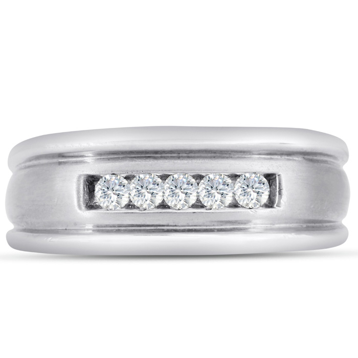 Mens 1/4 Carat Diamond Wedding Band in 14K White Gold, I-J-K, I1-I2, 8.61mm Wide by SuperJeweler