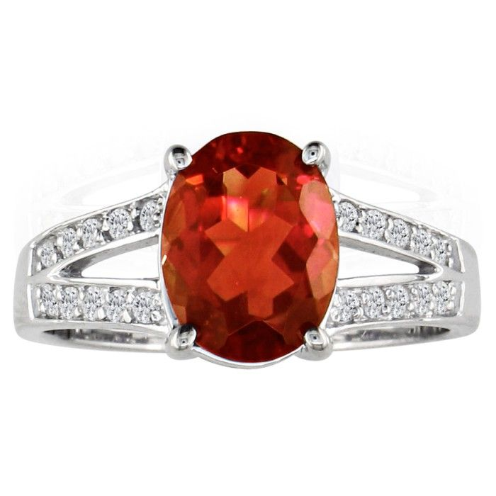 Split Band 2 1/4 Carat Garnet & 1/5 Carat Diamond Ring, 14k White
