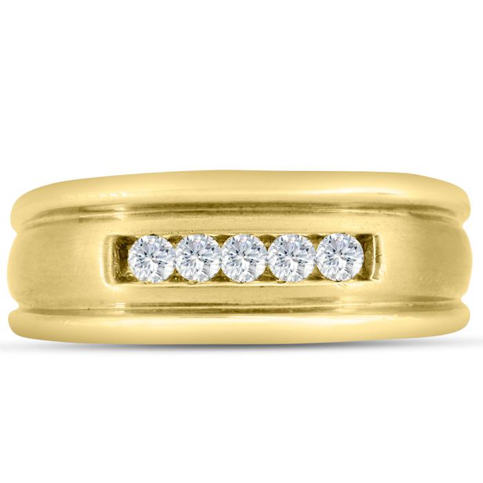 Mens 1/4 Carat Diamond Wedding Band in 14K Yellow Gold, I-J-K, I1-I2, 8.61mm Wide by SuperJeweler