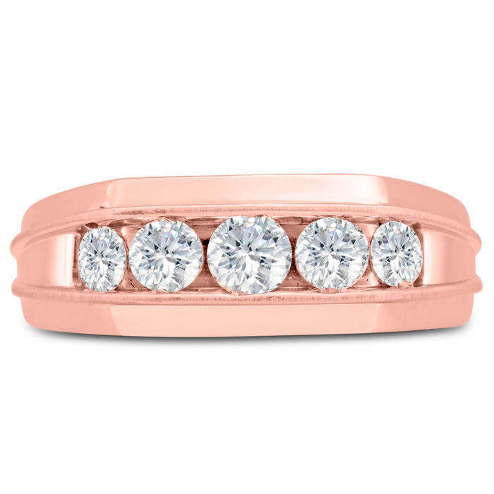 Mens 1 Carat Diamond Wedding Band in 10K Rose Gold, G-H, I2-I3, 8.33mm Wide by SuperJeweler