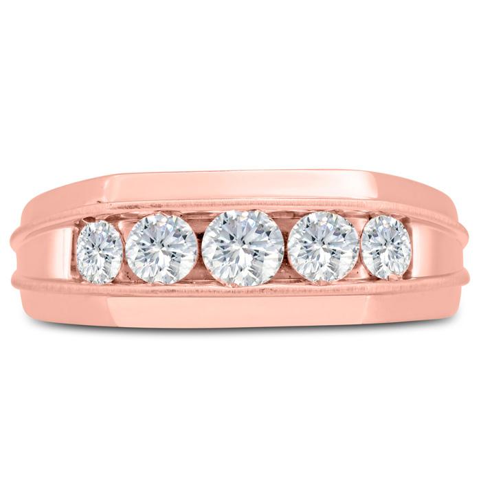 Mens 1 Carat Diamond Wedding Band in 10K Rose Gold, I-J-K, I1-I2, 8.33mm Wide by SuperJeweler