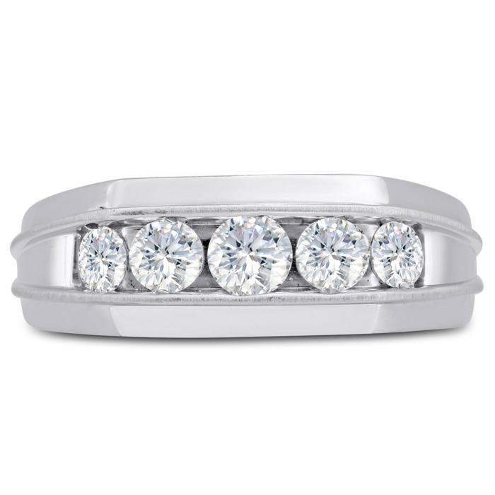 Mens 1 Carat Diamond Wedding Band in 10K White Gold, G-H, I2-I3,