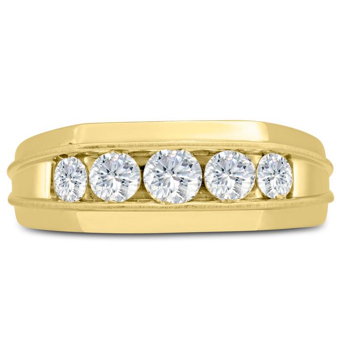 Mens 1 Carat Diamond Wedding Band in 10K Yellow Gold, I-J-K, I1-I2, 8.33mm Wide by SuperJeweler