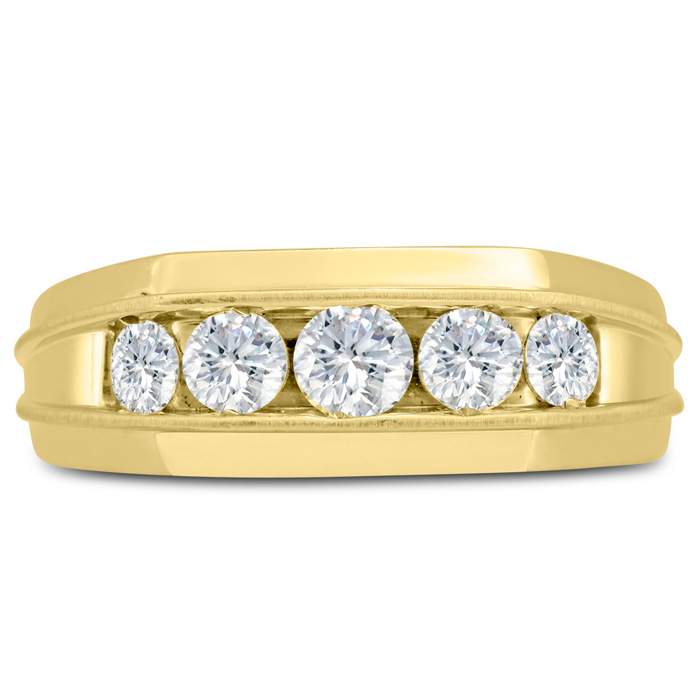 Mens 1 Carat Diamond Wedding Band in 14K Yellow Gold, I-J-K, I1-I