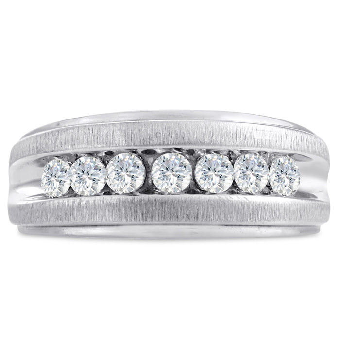 Mens 3/4 Carat Diamond Wedding Band in 10K White Gold, G-H, I2-I3, 9.44mm Wide by SuperJeweler