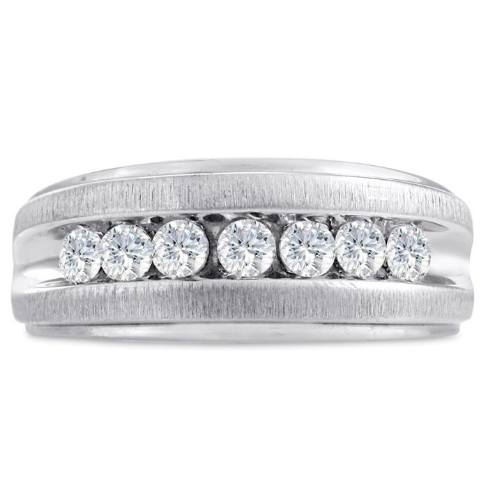 Mens 3/4 Carat Diamond Wedding Band in 10K White Gold, I-J-K, I1-I2, 9.44mm Wide by SuperJeweler