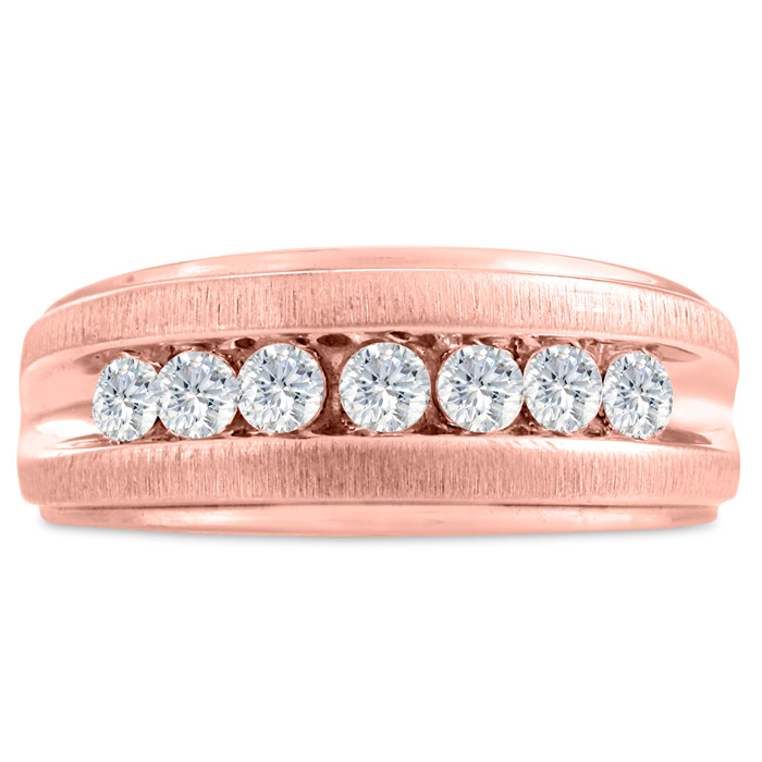Mens 3/4 Carat Diamond Wedding Band in 14K Rose Gold, I-J-K, I1-I