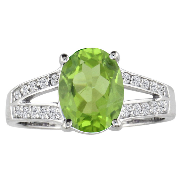 Split Band 2 1/4 Carat Peridot & 1/5 Carat Diamond Ring, 14k Whit