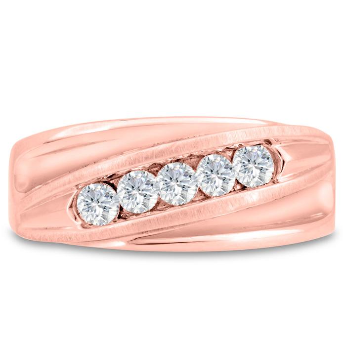 Mens 3/5 Carat Diamond Wedding Band in 14K Rose Gold, G-H, I2-I3,